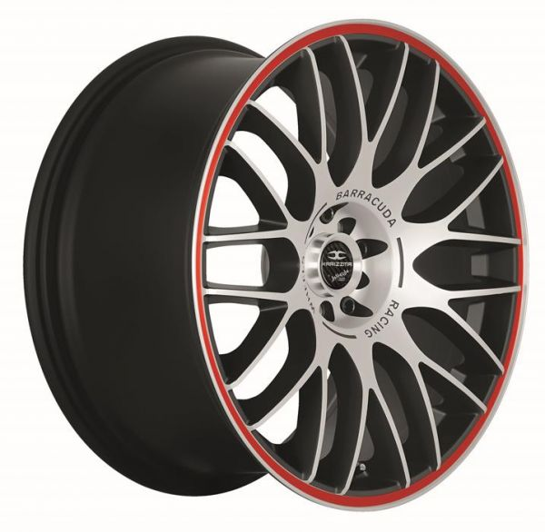 BARRACUDA KARIZZMA Mattblack-polished / Color Trim rot Felge 8x18 - 18 Zoll 4x100 Lochkreis
