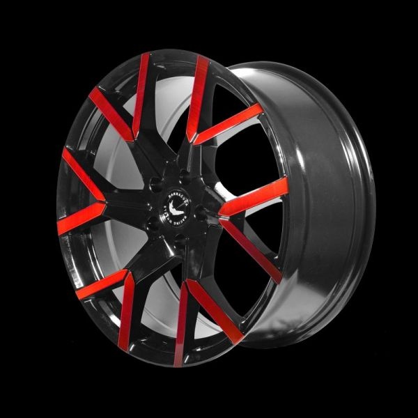 BARRACUDA TZUNAMEE EVO Black gloss Flashred Felge 8,5x19 - 19 Zoll 5x108 Lochkreis