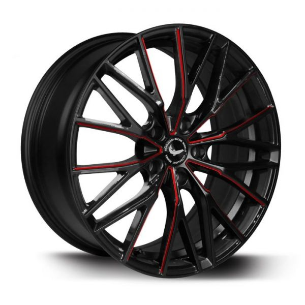 BARRACUDA PROJECT 3.0 Black gloss Flashred Felge 8,5x20 - 20 Zoll 5x108 Lochkreis