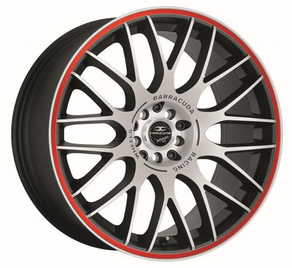 BARRACUDA KARIZZMA Mattblack-polished / Color Trim rot Felge 9,5x19 - 19 Zoll 5x112 Lochkreis