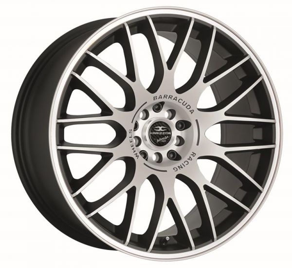 BARRACUDA KARIZZMA Mattblack-polished / Color Trim weiss Felge 9,5x19 - 19 Zoll 5x112 Lochkreis