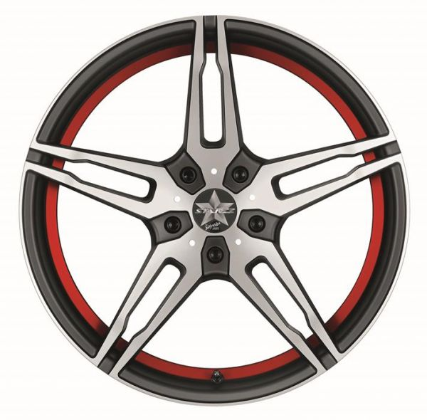 BARRACUDA STARZZ Mattblack-polished / undercut Color Trim rot Felge 8x18 - 18 Zoll 5x112 Lochkreis