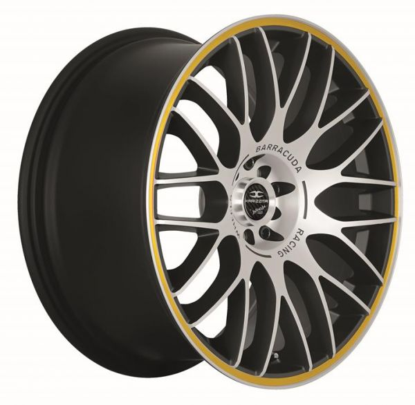 BARRACUDA KARIZZMA Mattblack-polished / Color Trim gelb Felge 8x18 - 18 Zoll 4x100 Lochkreis